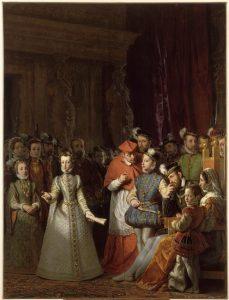 Marie Stuart, âgée de treize ans, déclame dans la salle des Caryatides, Gillot, ©RMN